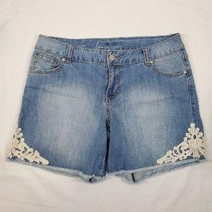 Lane Bryant Lace Denim Shorts Size 14